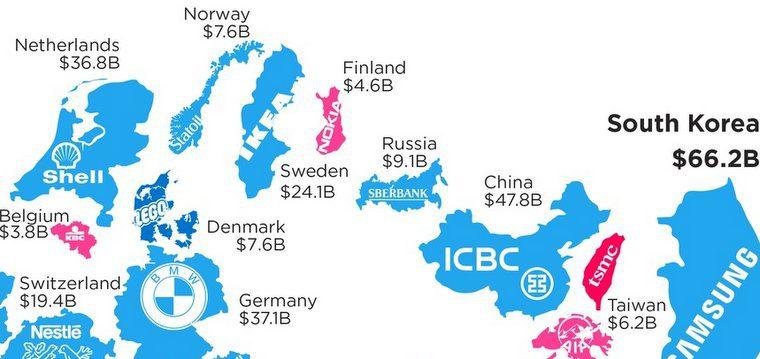 Самые дорогие бренды в каждой стране